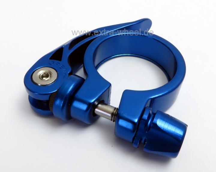 Sattelklemme Klemmring XLC 31,8 Blau eloxiert Aluminium mit Schnellspanner