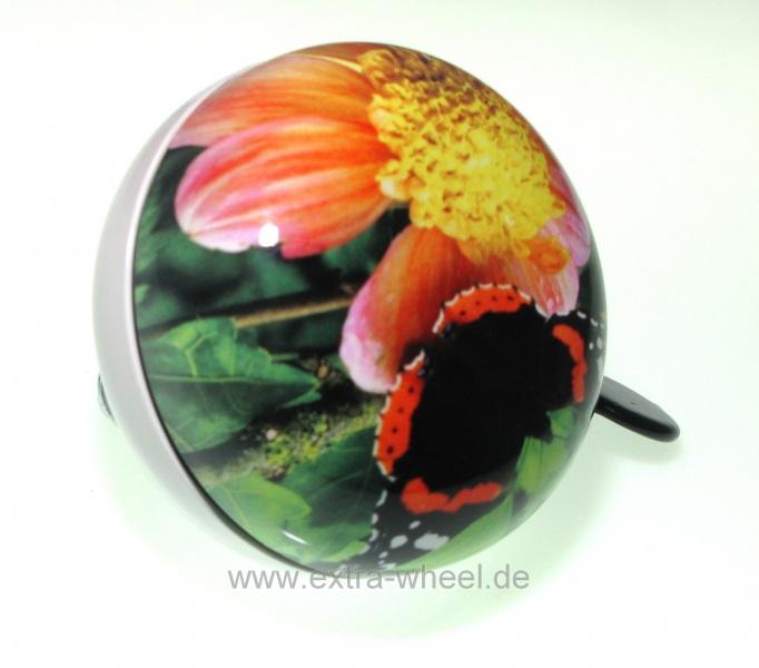 Klingel Ding Dong Glocke 80mm Schmetterling mit Blüte