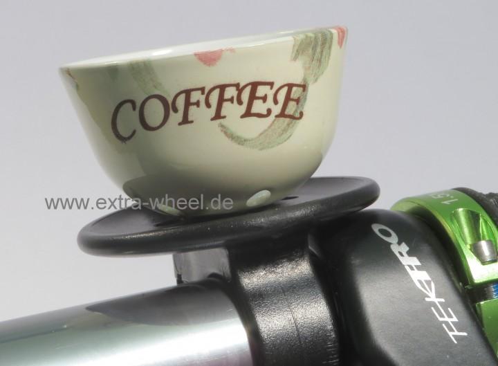 Fahrrad Klingel Kaffeetasse Weiss